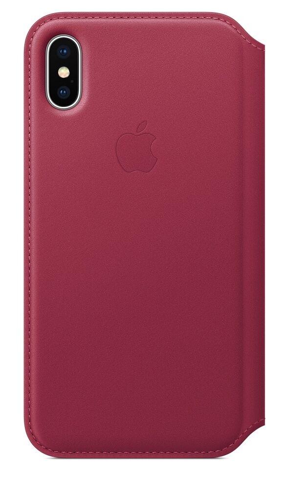 """Apple Folio Book Case Iphone X"""" Berry"""