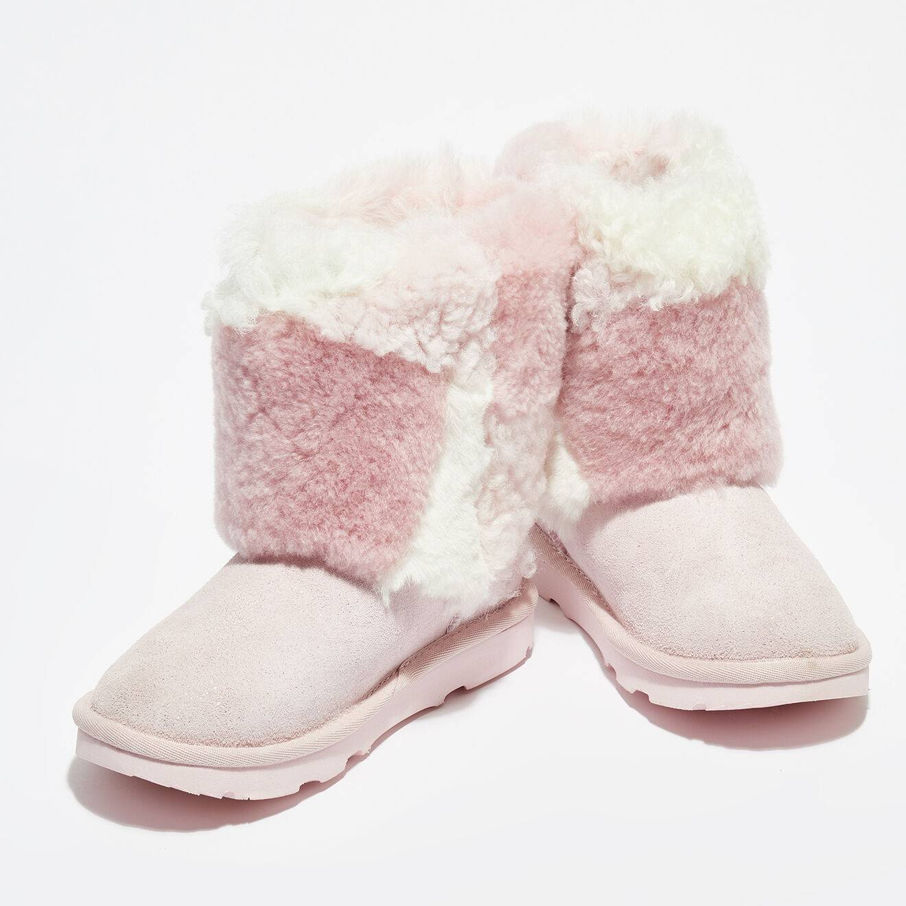 Ugg Boots fourrées en Laine & Fausse Fourrure en Velours de Cuir Classic Short Patchwork Fluff rose clair