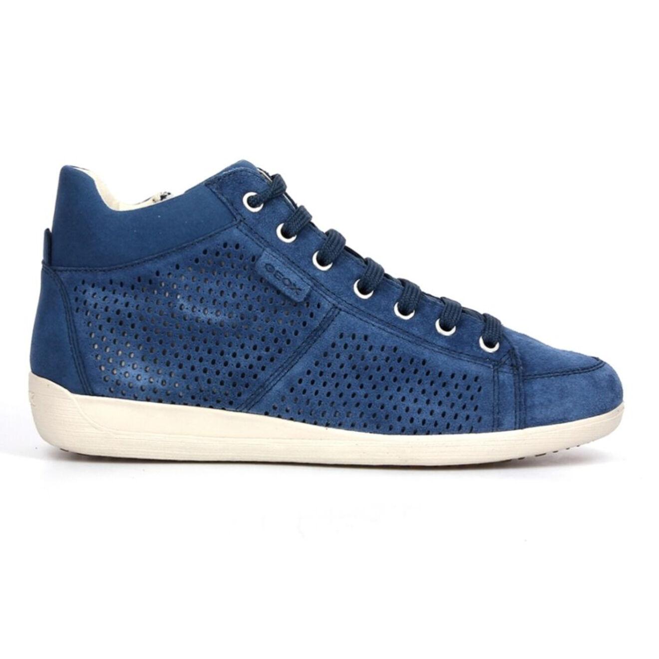 Geox Baskets en Velours de Cuir perforé bleu moyen