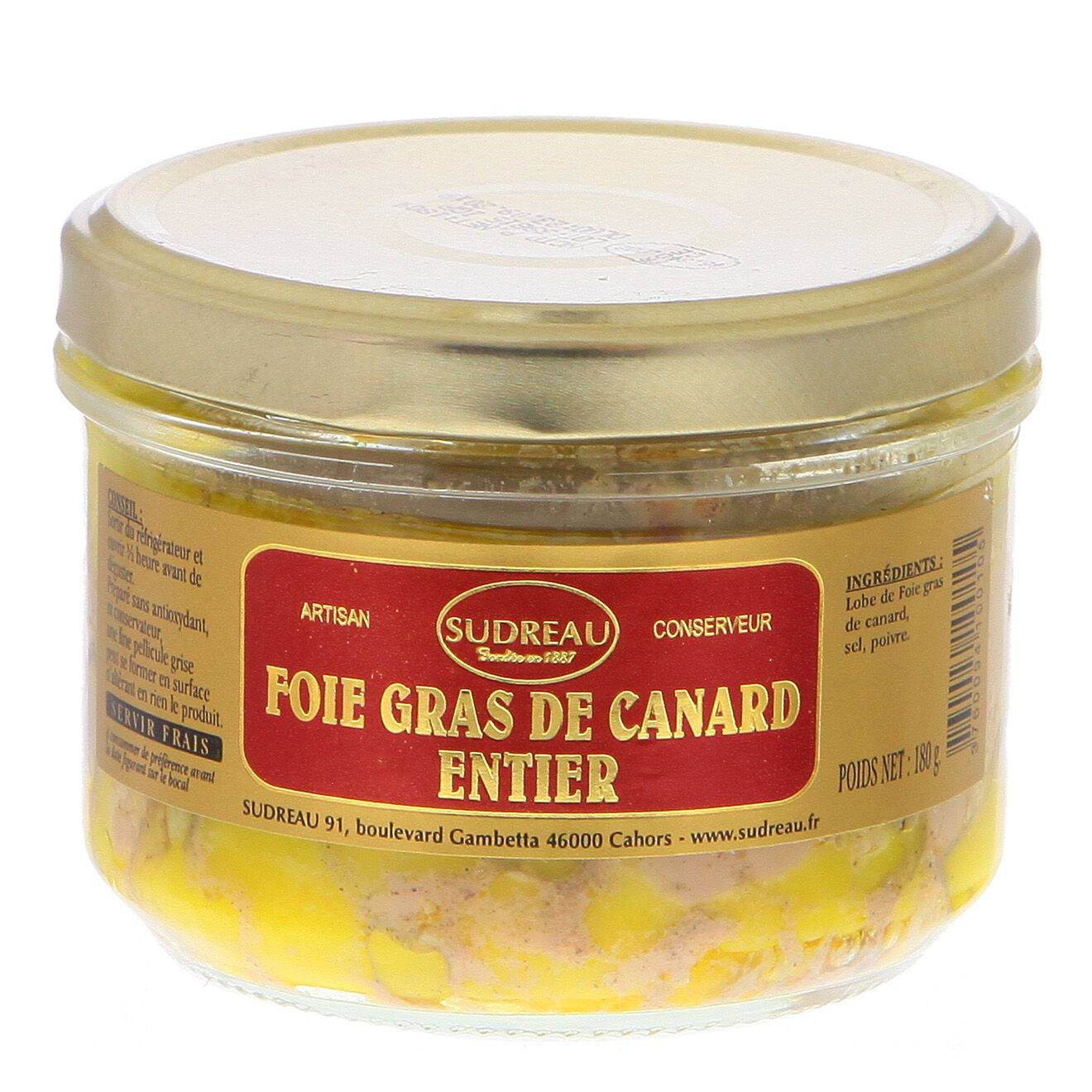 Sudreau Bocal de Foie Gras de Canard Entier Artisanal aux 2 Poivres 180g