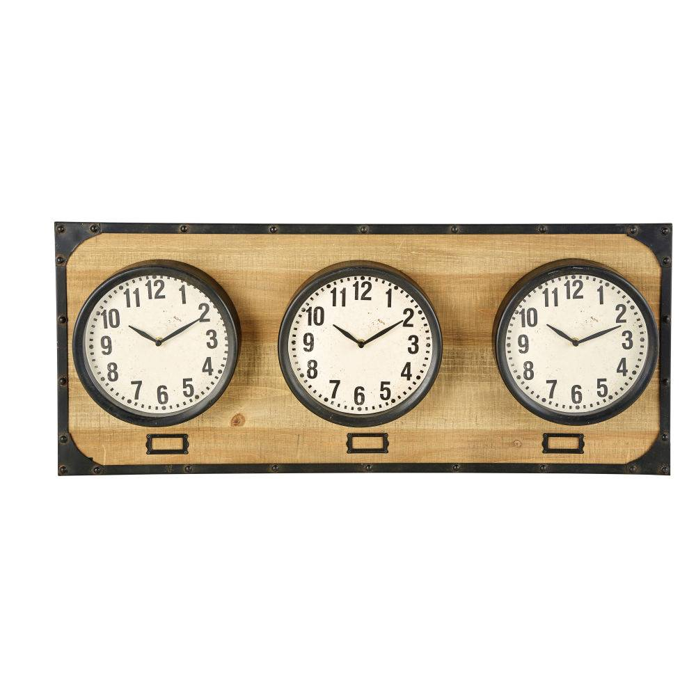 Maisons du Monde 3 horloges support en sapin et métal noir 92x38