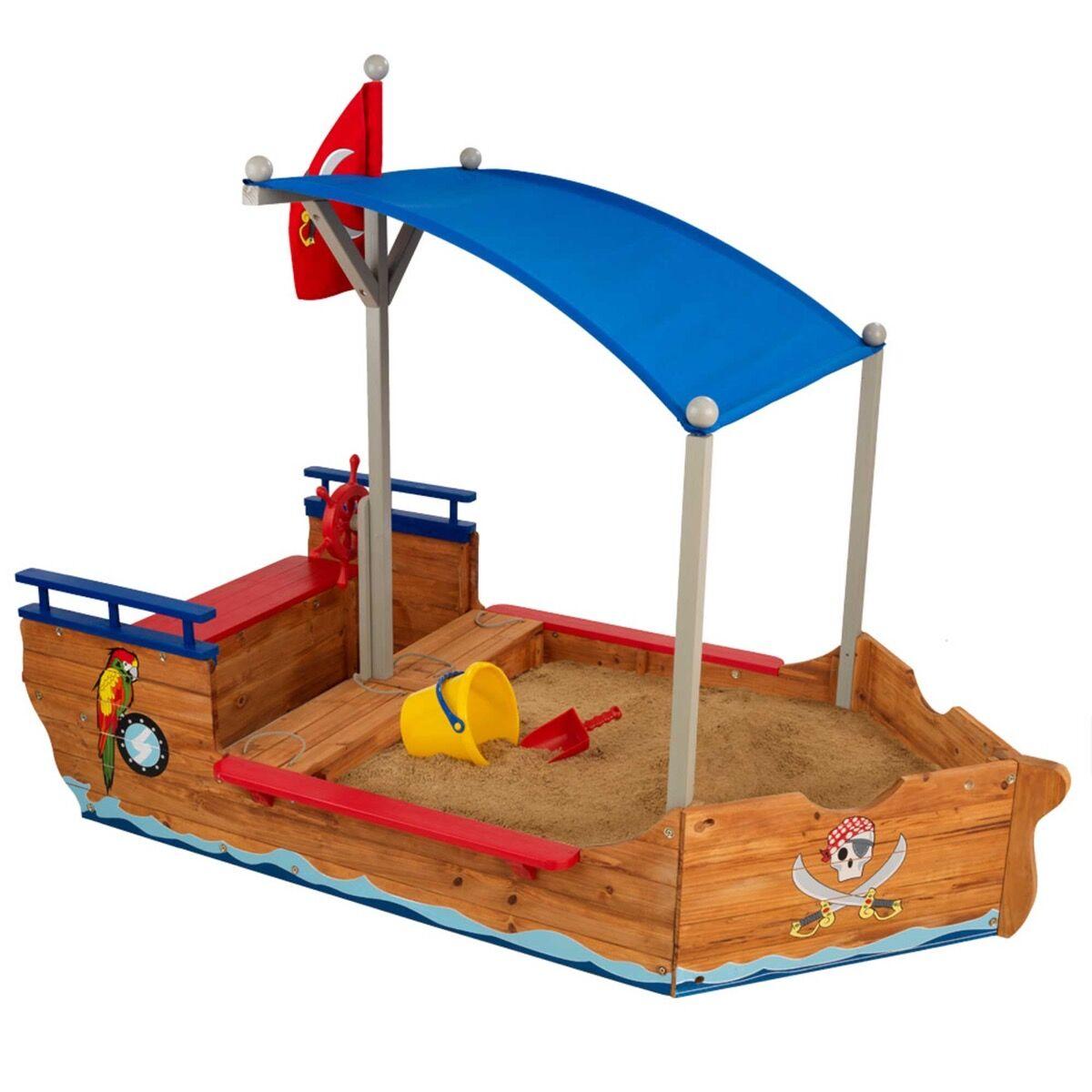 KidKraft Bac à sable bateau de pirates en bois