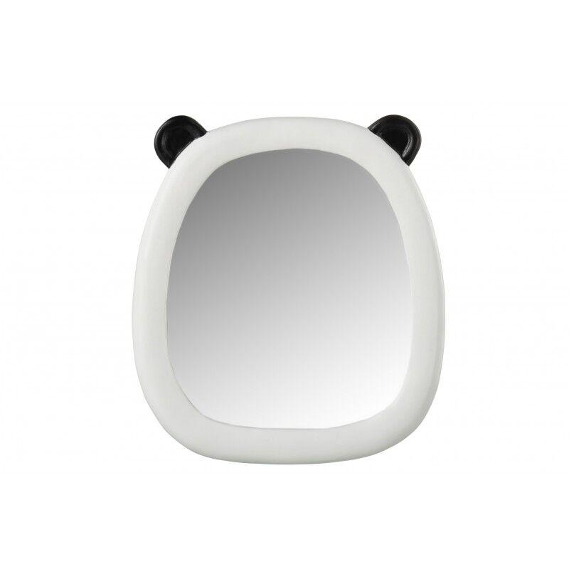 LANADECO Miroir oreilles panda résine noir et blanc H28,5cm