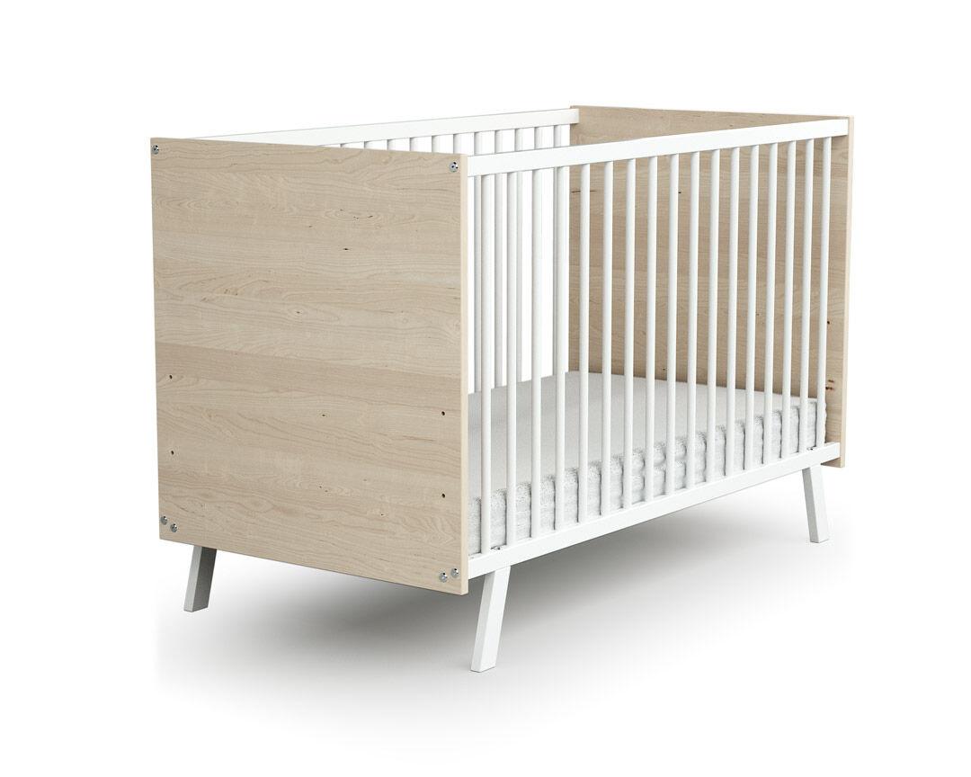 AT4 Lit bébé 60x120 blanc et bouleau