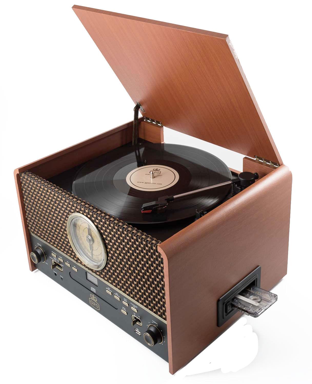 GPO Retro Design Platine vinyle station audio 5 en 1 marron naturel