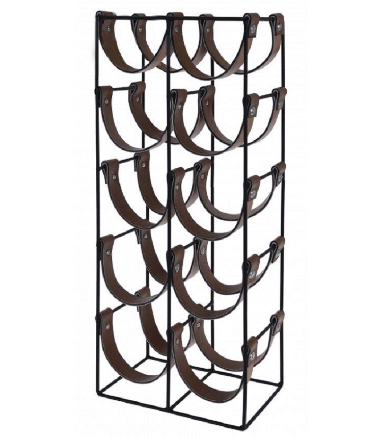 Wadiga Porte bouteilles métal noir et similicuir marron 10 bouteilles H60cm