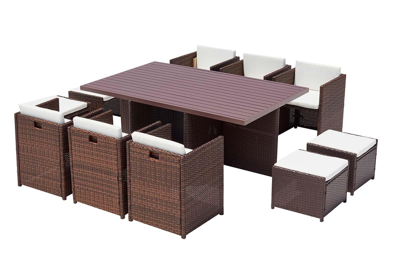 Concept Usine Table et chaise 10 places encastrables alu résine marron/blanc