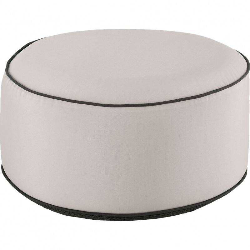 Meubletmoi Pouf rond tissu beige gonflable