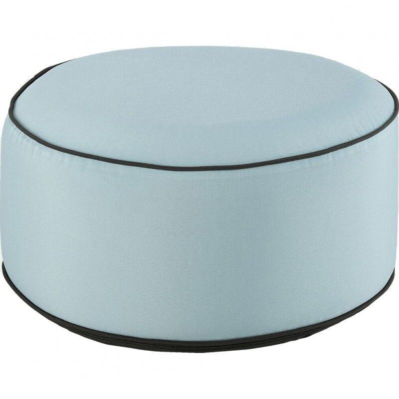 Meubletmoi Pouf rond tissu bleu clair gonflable