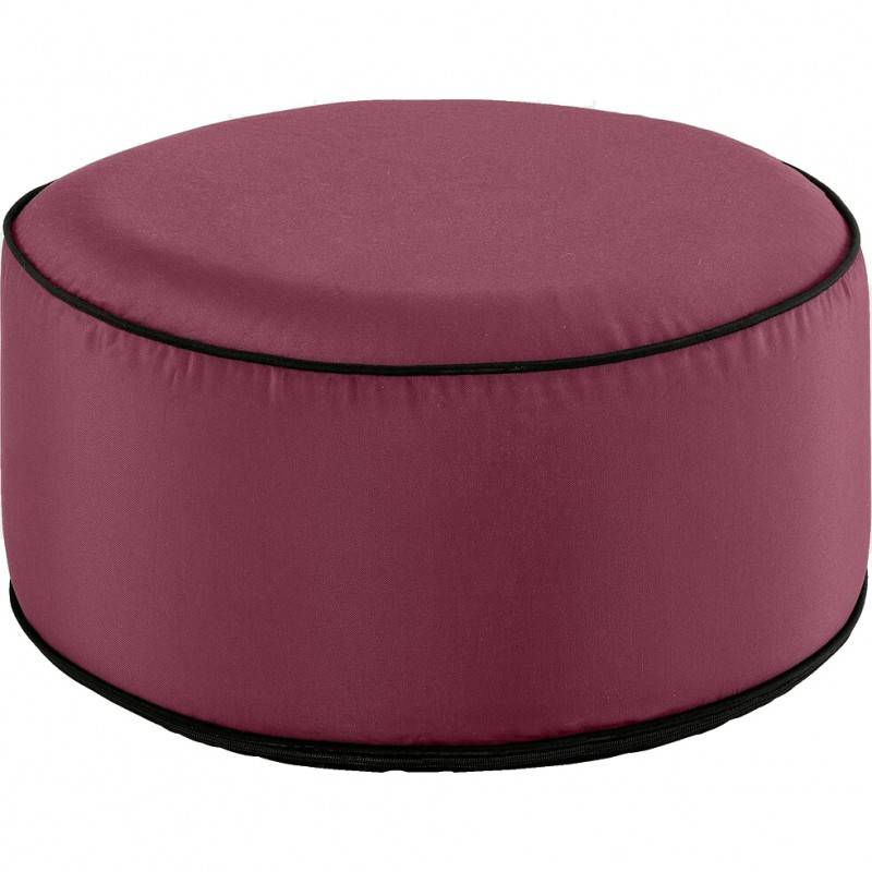 Meubletmoi Pouf rond tissu rouge gonflable