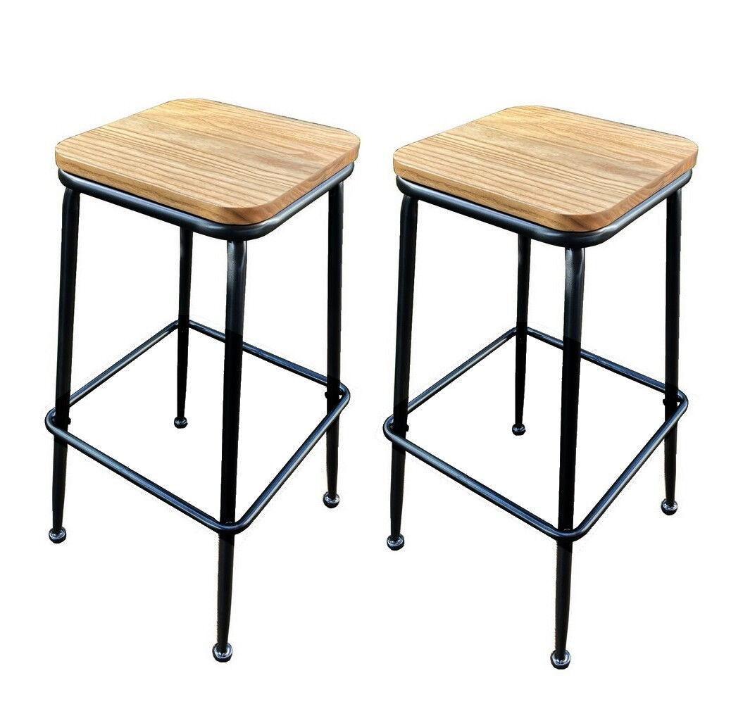 Mathi Design Lot de 2 tabourets en acier et bois clair