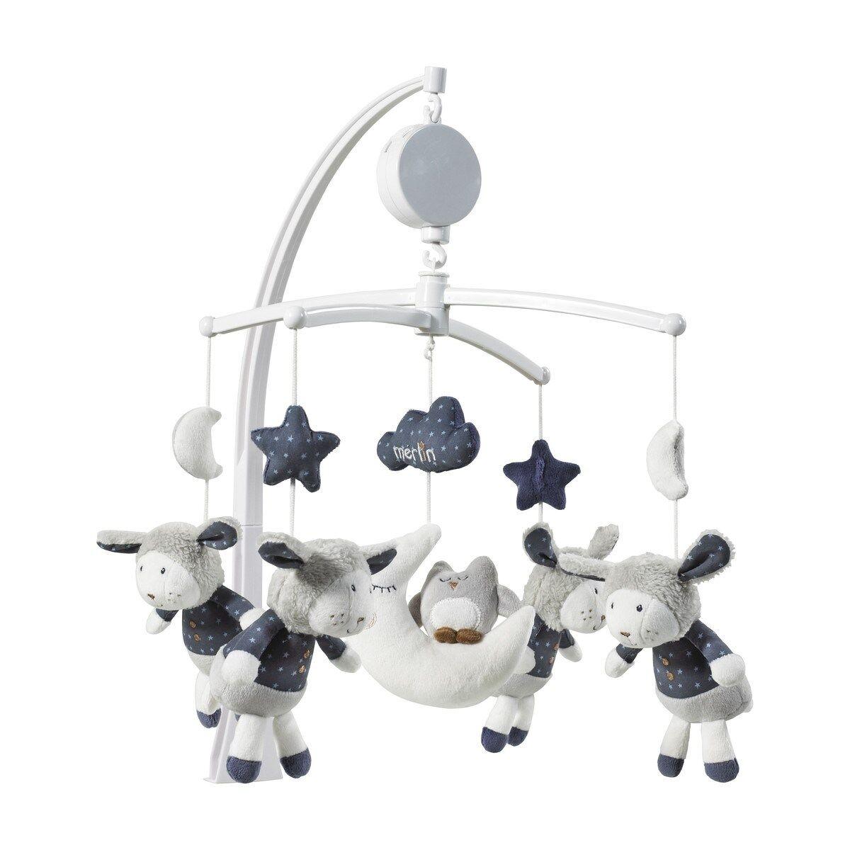 Sauthon Mobile musical bébé mouton en coton blanc