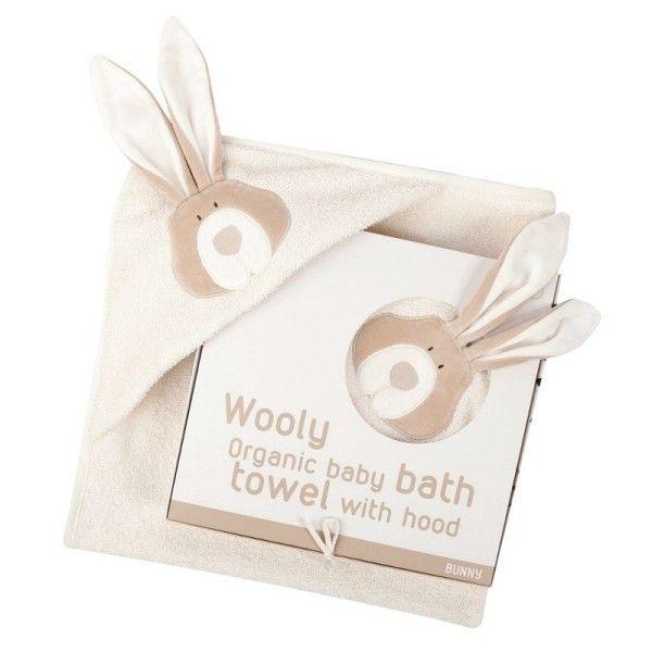 Wooly Organic Drap de Bain Bébé Bio Cape avec capuche Lapin Wooly Organic® Coton Bi