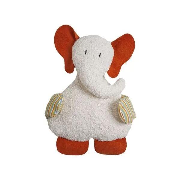 Efie Doudou Grand Elephant Orange & Blanc 54 cm - Doudou Bio Naturel Efie