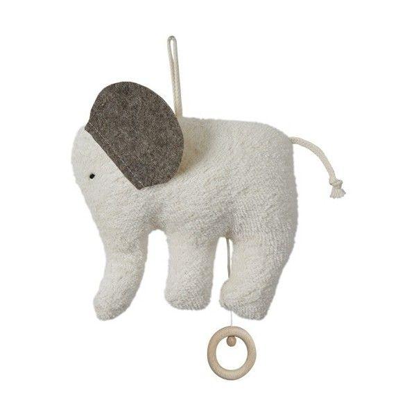 Efie Doudou Boite à Musique éléphant Coton Organic Bio Elephant Blanc 16 c