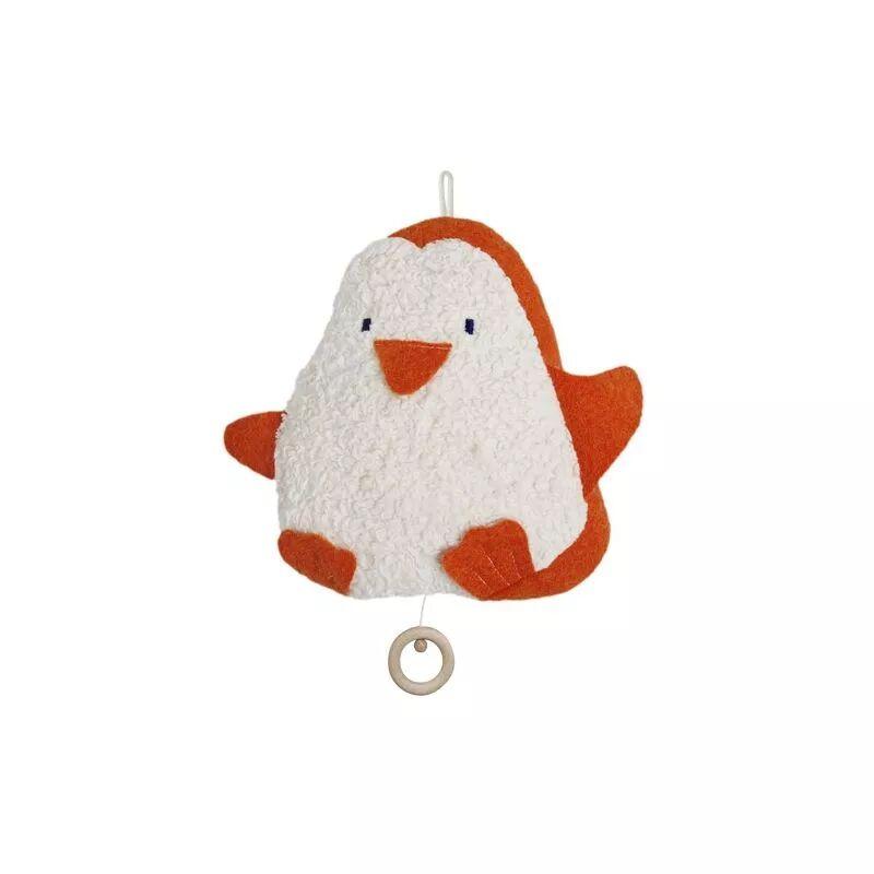 Efie Doudou Musical Coton Organic Bio Pingouin Orange & Blanc 24 cm -