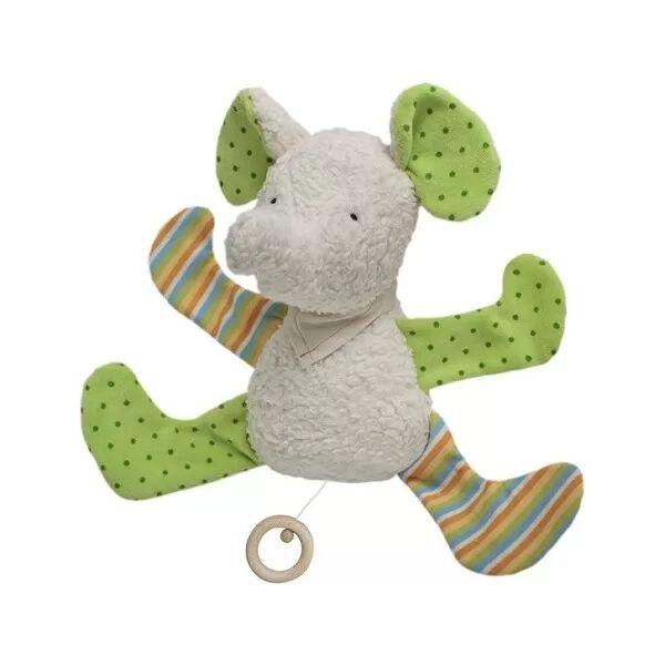 Efie Doudou Musical Coton Organic Bio Elephant Coloré 30 cm - Doudou Bio