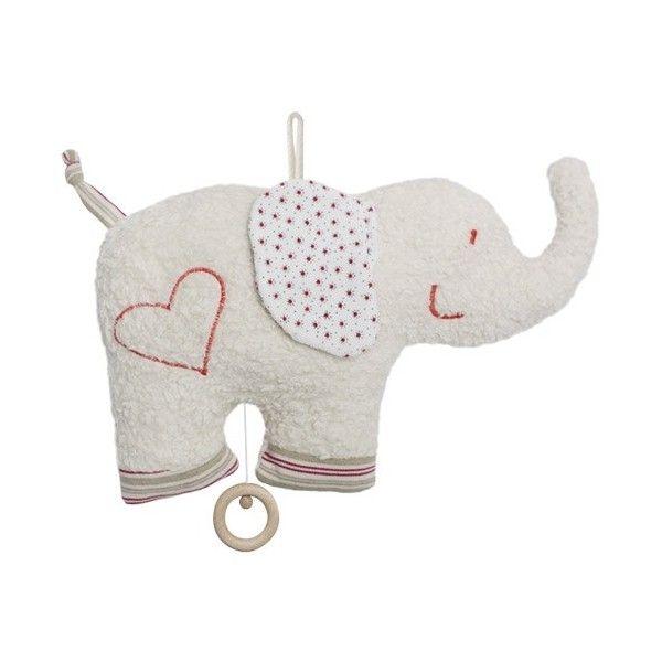 Efie Doudou Plat Musical Coton Organic Bio Elephant 30 cm - Doudou Bio