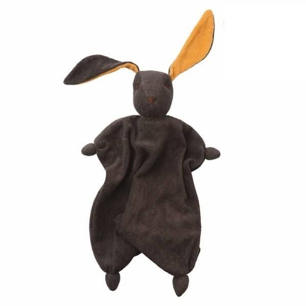 Peppa® & Hoppa® Peppa® Doudou Coton Bio Lapin Tino Anthracite Orange - Bébé Naturel