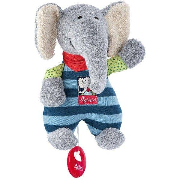 Sigikid® Doudou Peluche Musicale Elephant Coton Lolo Lombardo  22cm