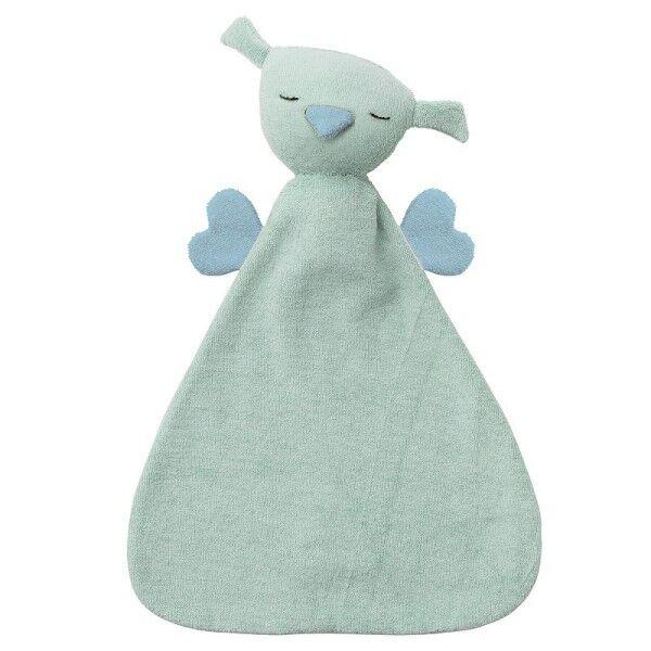 Peppa® & Hoppa® Doudou Plat Hoppa® Coton Bio Hibou Hugo Vert Menthe & Bleu - Doudou