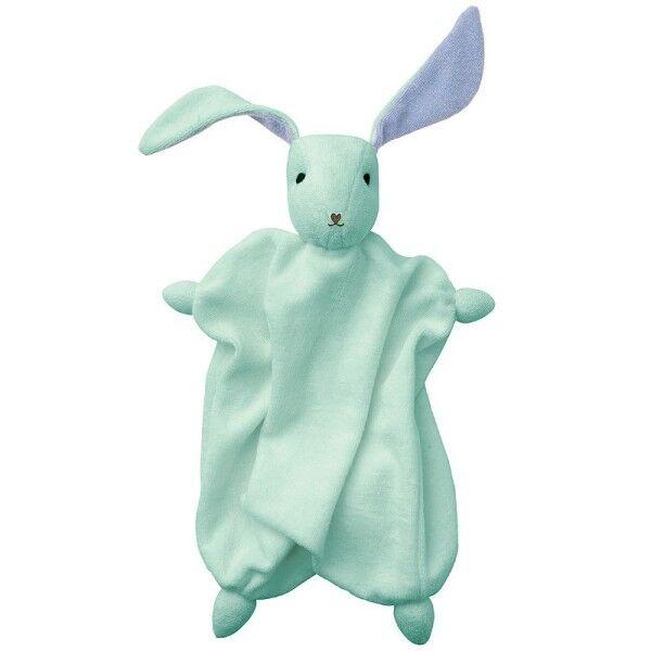 Peppa® & Hoppa® Doudou Plat Hoppa® Coton Bio Lapin Tino Vert Menthe & Bleu - Doudou