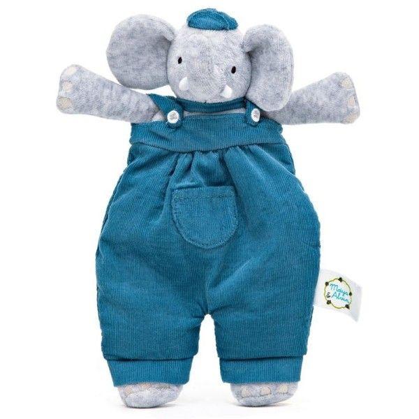 Meiya & Alvin® Doudou Peluche Plat Coton Bio Alvin l'éléphant 24 cm Meiya & Alvin® -