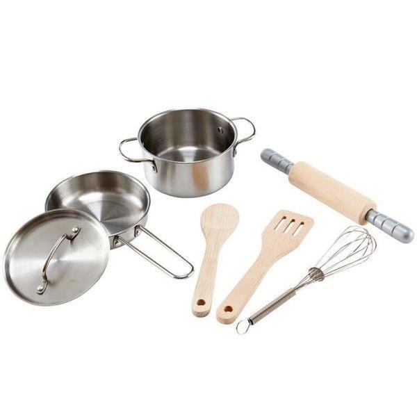 Hape Dinette Hape® Set du Chef  Casseroles Métal & Bois - Dinette Hape