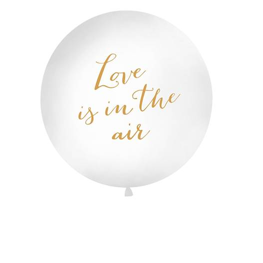 Party Deco Ballon Geant Love Is In The Air Blanc et Or 1 m