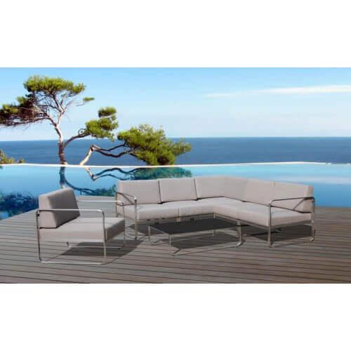 Delorm Design Salon de jardin d'angle St Barth 5 places en acier et tissu