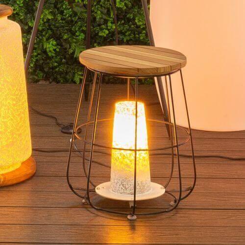 Mypiscine Lampe de table DEWI bois/acier - 36,5 x 36,5 x 44,5 cm