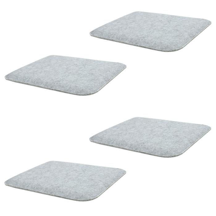 IDIMEX Lot de 4 coussins d'assise carrés GRACE, en feutre gris