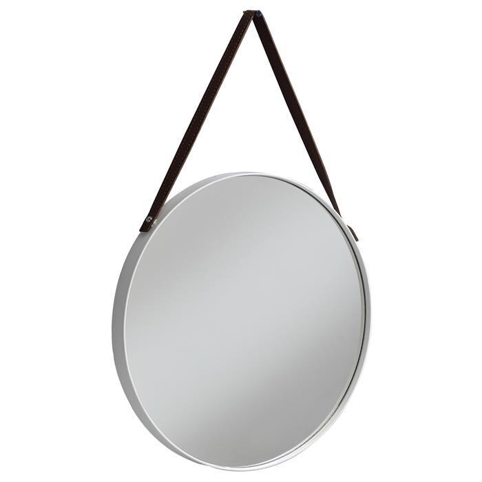 IDIMEX Miroir rond avec anse MIREIA cadre en métal blanc, 45 cm