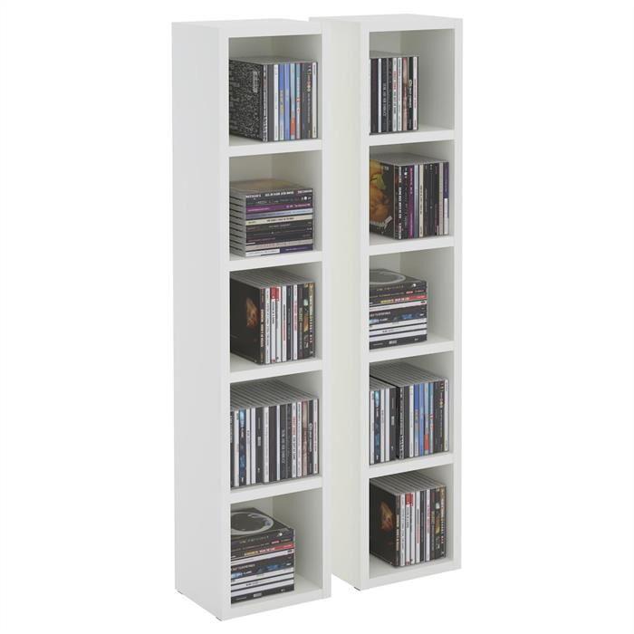 IDIMEX Etagères modulables MUSIQUE pour CD et DVD, en mélaminé blanc mat