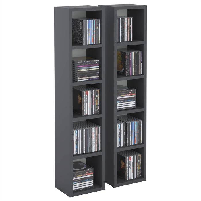 IDIMEX Etagères modulables MUSIQUE pour CD et DVD, en mélaminé gris mat