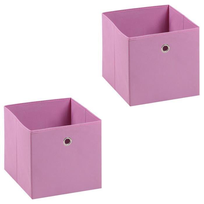 IDIMEX Lot de 2 boîtes de rangement ELA, en tissu rose