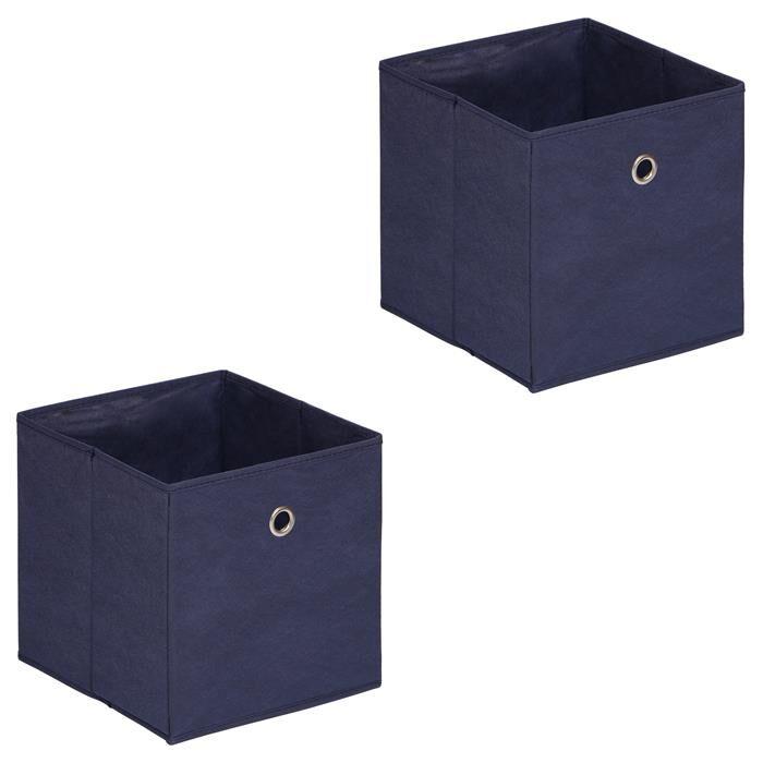 IDIMEX Lot de 2 boîtes de rangement ELA, en tissu bleu foncé