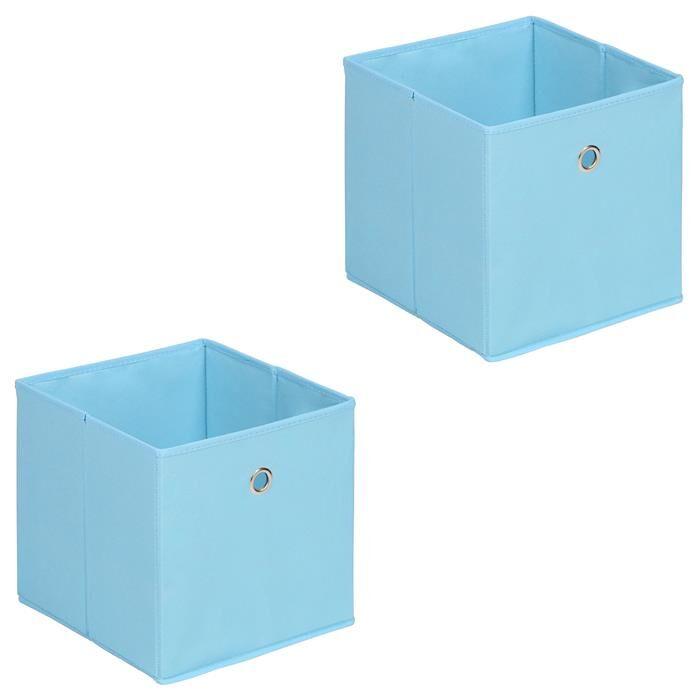 IDIMEX Lot de 2 boîtes de rangement ELA, en tissu bleu clair