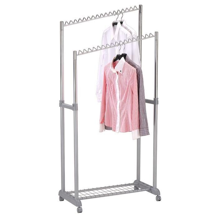 IDIMEX Portant à vêtements MONA, en métal chromé et gris