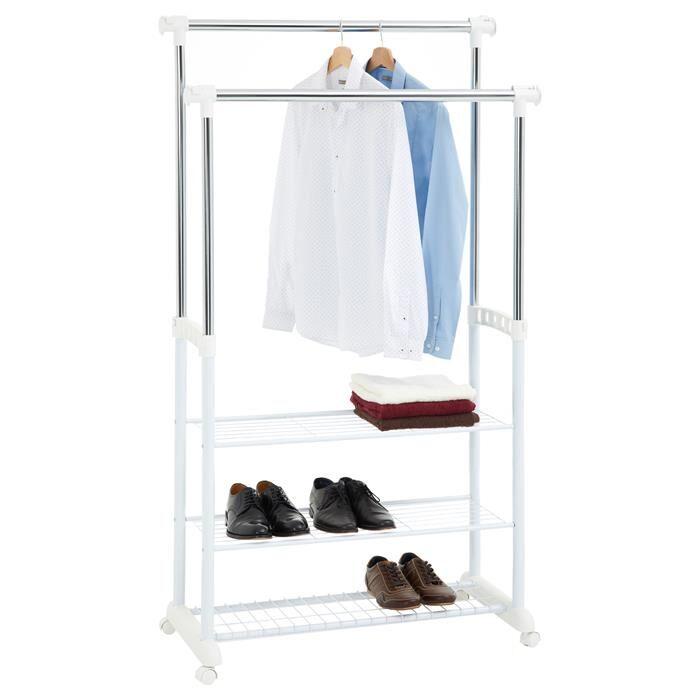 IDIMEX Portant à vêtements OLGA, en métal chromé et blanc