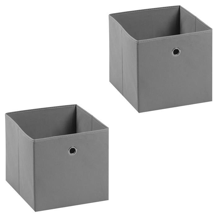 IDIMEX Lot de 2 boîtes de rangement ELA, en tissu gris