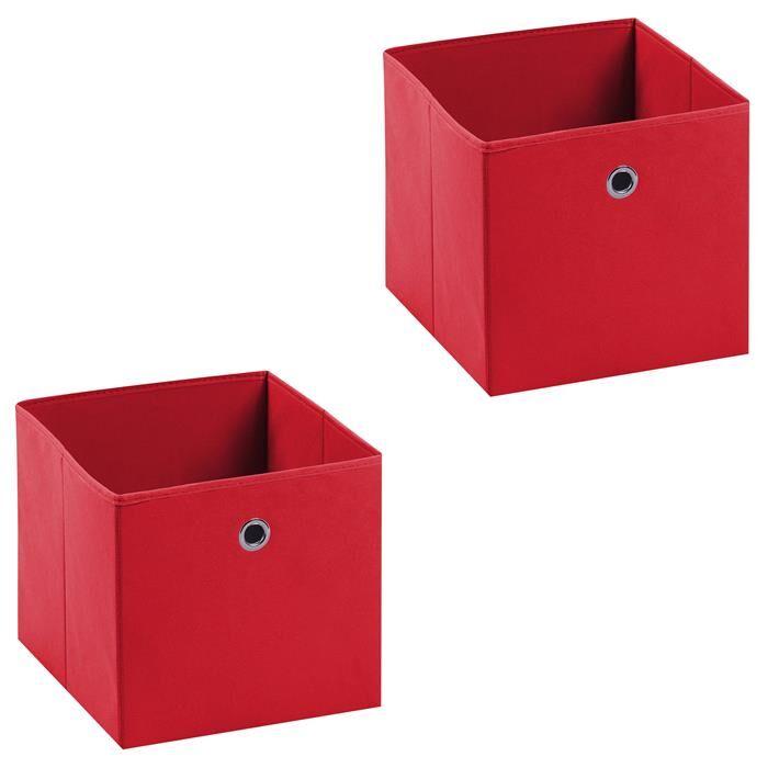 IDIMEX Lot de 2 boîtes de rangement ELA, en tissu rouge