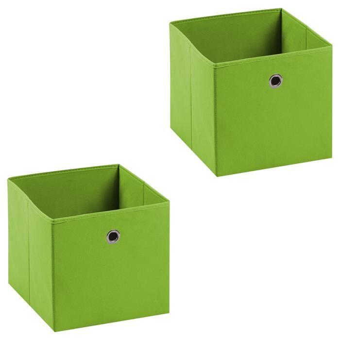 IDIMEX Lot de 2 boîtes de rangement ELA, en tissu vert