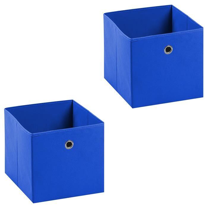 IDIMEX Lot de 2 boîtes de rangement ELA, en tissu bleu