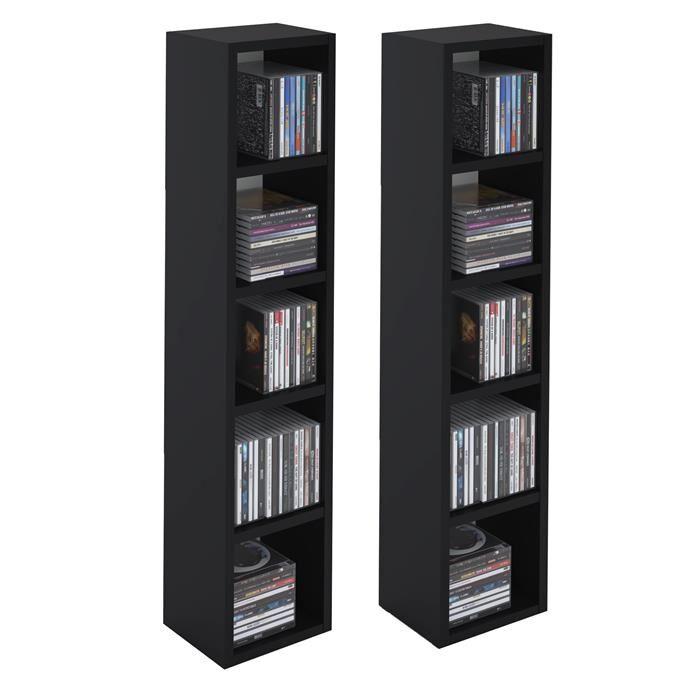 IDIMEX Etagères modulables MUSIQUE pour CD et DVD, en mélaminé noir mat