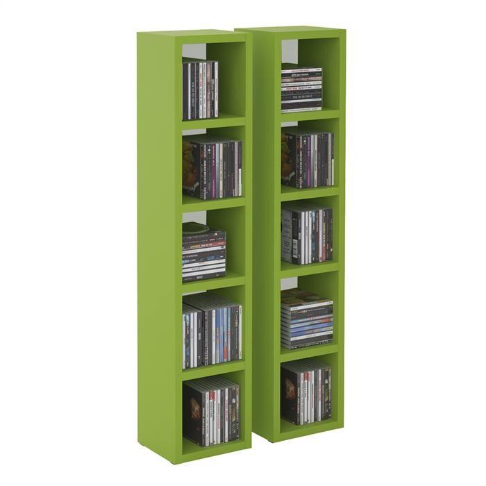 IDIMEX Etagères modulables MUSIQUE pour CD et DVD, en mélaminé vert mat