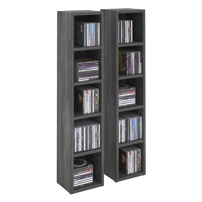 IDIMEX Etagères modulables MUSIQUE pour CD et DVD, en mélaminé décor gris cendré