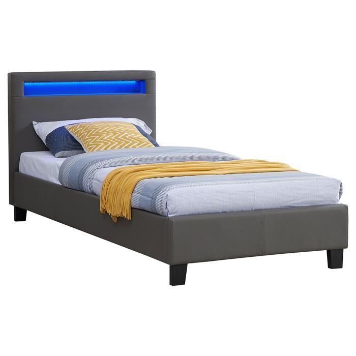 IDIMEX Lit simple LUCENO, 90 x 190 cm, avec LED intégrées et sommier, revêtement synthétique gris