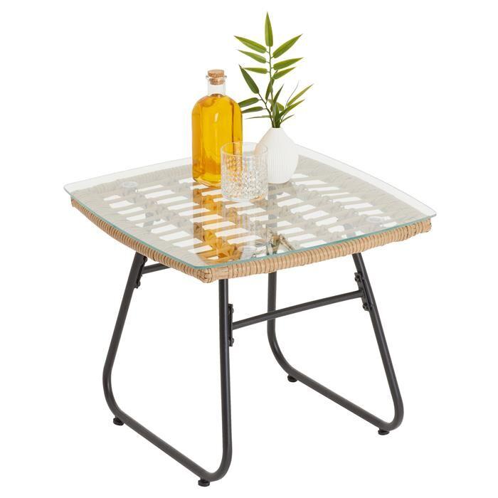 IDIMEX Table d'appoint de jardin COSTA, plateau en verre et imitation rotin