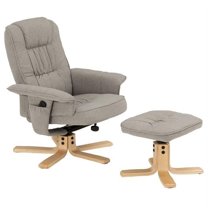 IDIMEX Fauteuil de relaxation avec repose-pieds CHARLY, en tissu gris